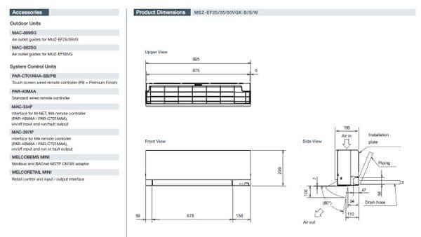 Mitsubishi Electric Air Conditioning MSZ-EF25VGK ZEN Wall Mounted R32 2.5Kw/9000Btu Install Kit